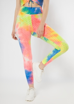bright tie dye honeycomb ruched back leggings - Main Image