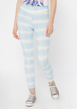 light blue tie dye striped ruched leggings - Main Image