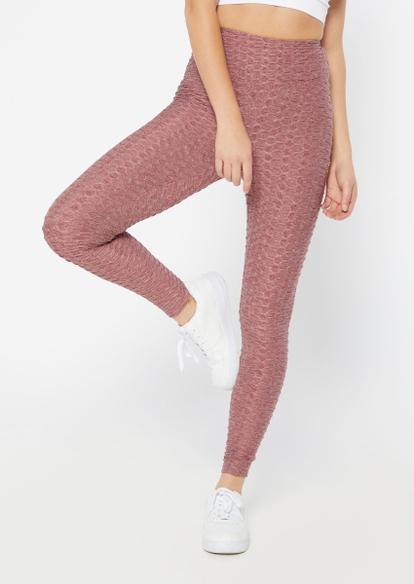 burgundy marled ruched back honeycomb leggings - Main Image