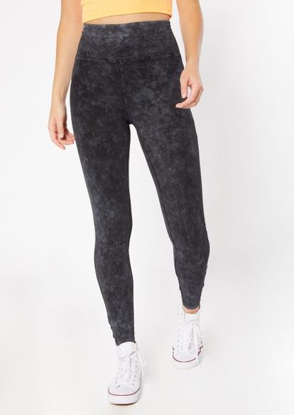black high rise mineral wash leggings - Main Image