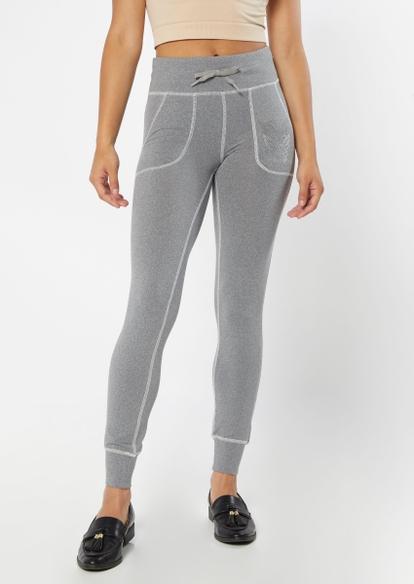 gray contrast stitch super soft jogger leggings - Main Image