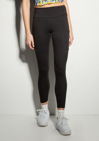 black fleece lined cell pocket leggings - Main Image