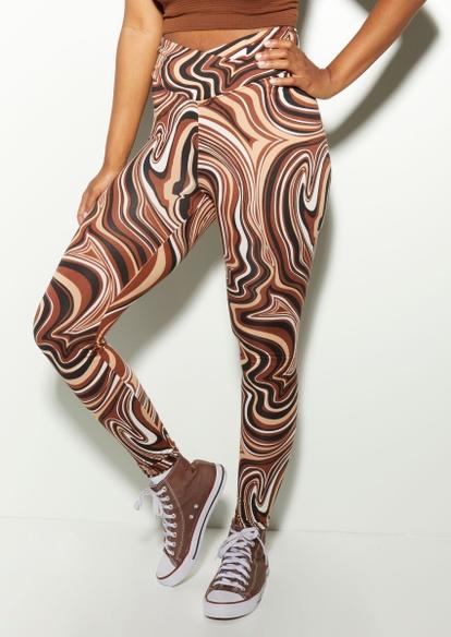 brown marble swirl v waist ruched back leggings - Main Image