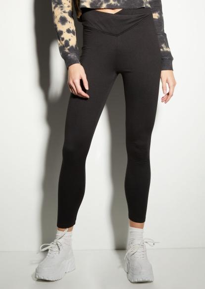 black v waist ruched leggings - Main Image