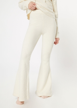 ivory cozy teddy flare pants - Main Image