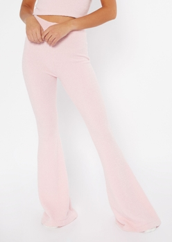pink cozy teddy flare pants - Main Image