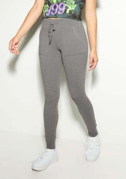 charcoal gray fleece lined jogger leggings - Main Image