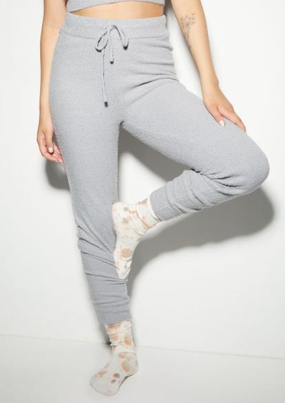 gray cozy teddy drawstring waist leggings - Main Image