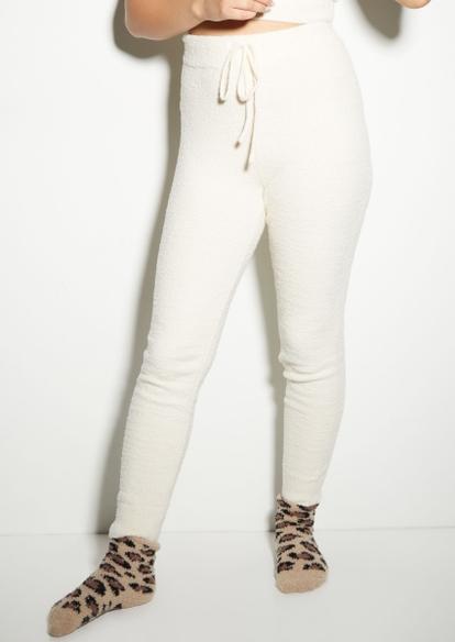 ivory cozy teddy drawstring waist leggings - Main Image