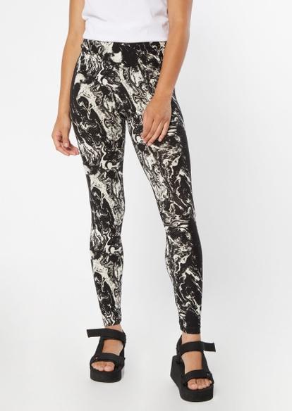 black marble swirl print v waist leggings - Main Image