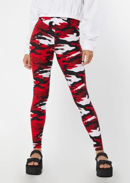 red camo print v waist leggings - Main Image
