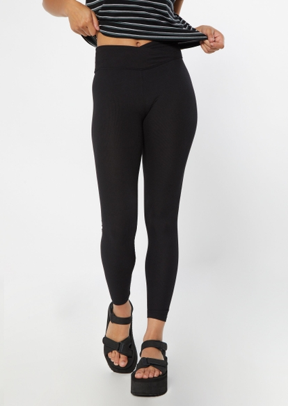 black ribbed knit v waist leggings - Main Image