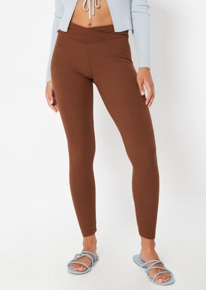 brown v waist leggings - Main Image