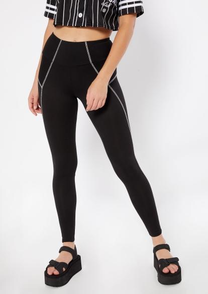 black contrast stitch leggings - Main Image