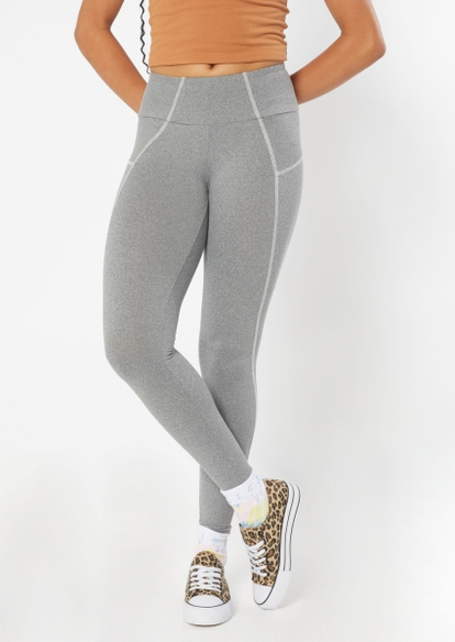 charcoal gray contrast stitch leggings - Main Image