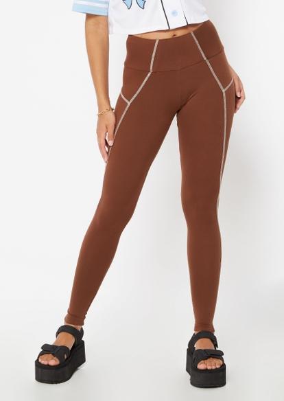 brown contrast stitch leggings - Main Image