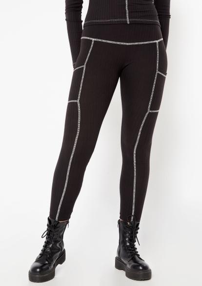 black contrast stitch cell pocket leggings - Main Image