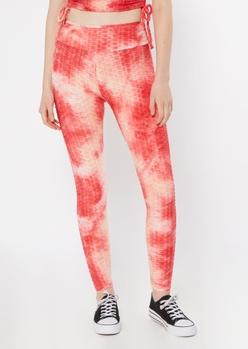red tie dye honeycomb leggings - Main Image