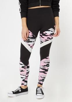pink camo print chevron striped super soft leggings - Main Image