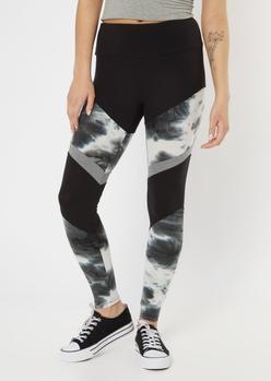 black tie dye chevron striped super soft leggings - Main Image
