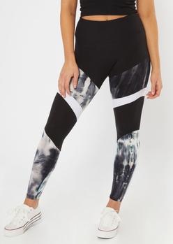 black tie dye colorblock leggings - Main Image