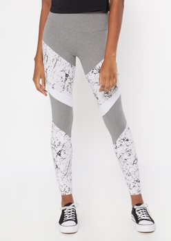 white marbled chevron striped super soft leggings - Main Image