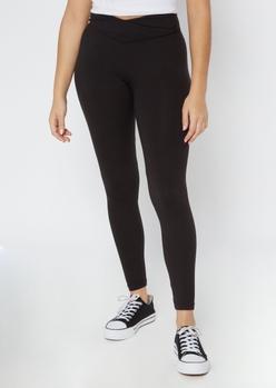 black v waistband super soft leggings - Main Image