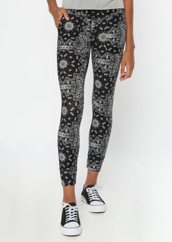 black bandana print pocket leggings - Main Image
