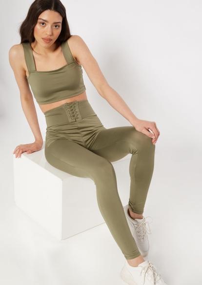 olive green super soft lace up waist leggings - Main Image