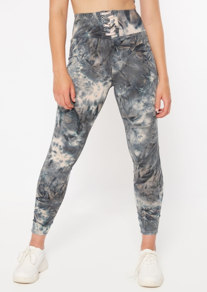 gray tie dye super soft lace up leggings - Main Image