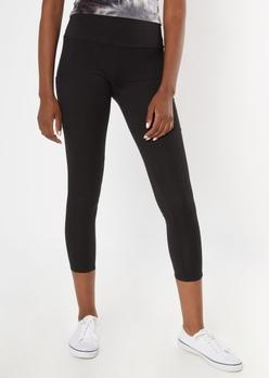 black ribbed insert cell phone pocket leggings - Main Image
