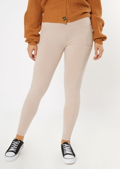 taupe ribbed insert cell phone pocket leggings - Main Image