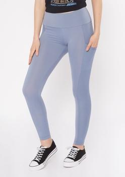 light blue ribbed insert cell phone pocket leggings - Main Image