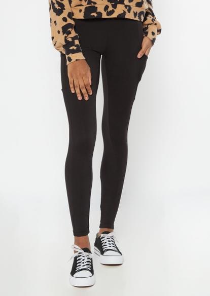 black super soft cell phone pocket leggings - Main Image