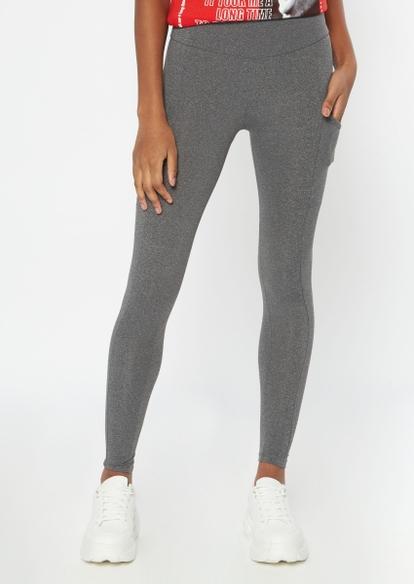 charcoal gray super soft cell phone pocket leggings - Main Image