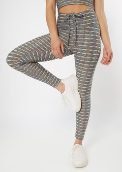 gray space dye honeycomb v front leggings - Main Image