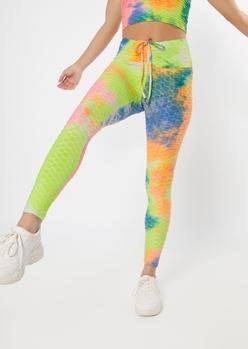 neon tie dye honeycomb v front leggings - Main Image