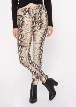 snake print drawstring waist jogger leggings - Main Image