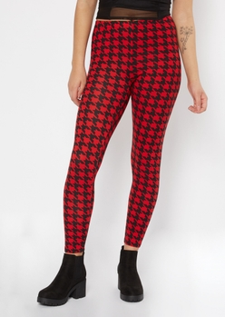 red houndstooth print super soft leggings - Main Image