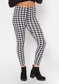 houndstooth print super soft leggings - Main Image
