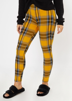 yellow plaid super soft leggings - Main Image