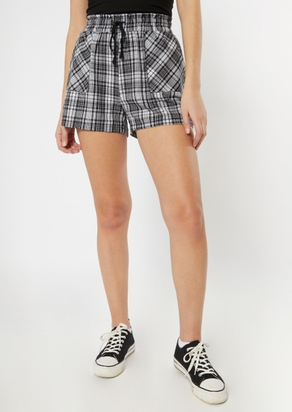 black plaid flannel shorts - Main Image