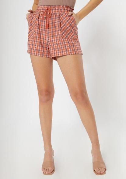 orange plaid flannel shorts - Main Image