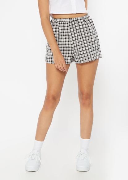 black plaid print shorts - Main Image