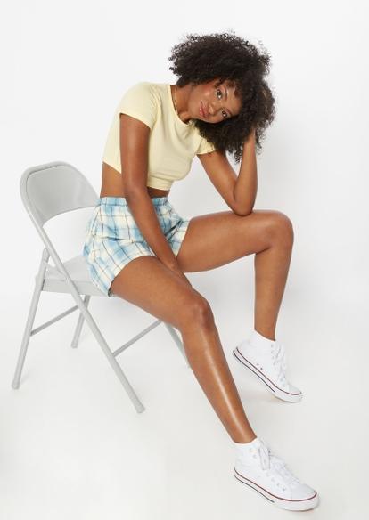 blue plaid print shorts - Main Image
