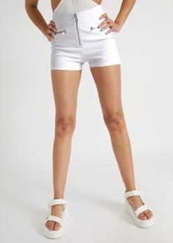 white o ring high waisted shorts - Main Image