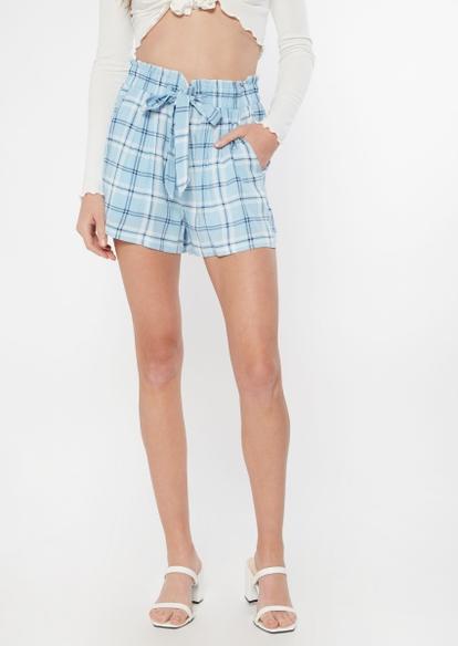 blue plaid paperbag waist shorts - Main Image