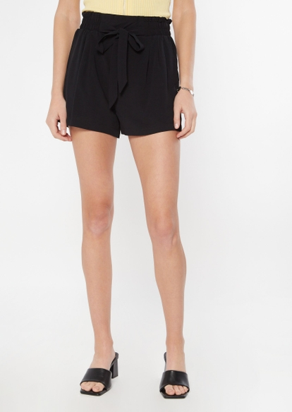 black paperbag waist shorts - Main Image