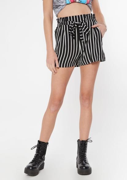 black striped paperbag waist shorts - Main Image