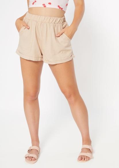 khaki linen shorts - Main Image